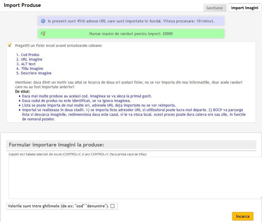 manual importare imagini produse
